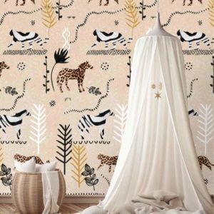 Safari behang kinderkamer