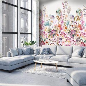 Behang bloemen patroon