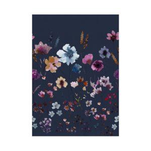 Blauw bloemen behang