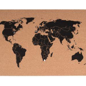Prikbord wereldkaart kurk