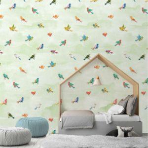 Vogeltjes behang 7428