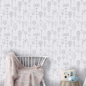Behang met bloemen print grijs