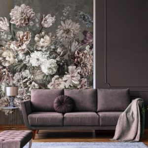 Bloemen behang flets