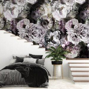 Donkere rozen behang