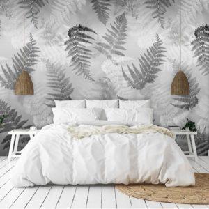 Zwart & wit bladeren behang