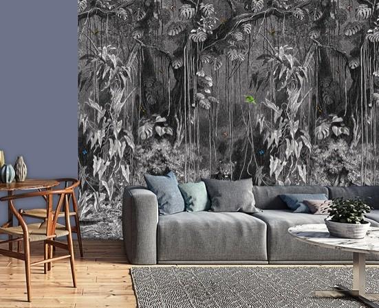 Zwart wit jungle behang