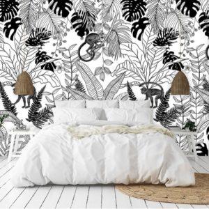 Zwart wit oerwoud behang