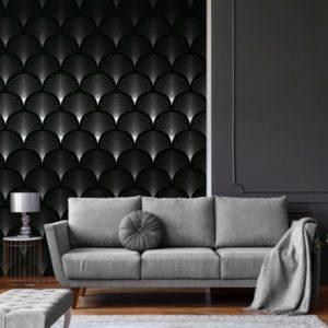 Zwart/wit waaier behang