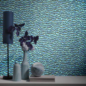 Veren behang blauw