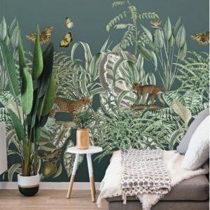 Groen jungle behang