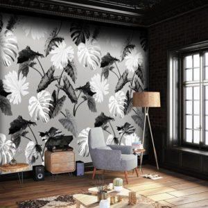 Grijs behang met bladeren