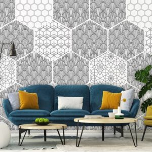 Hexagon zwart & wit behang