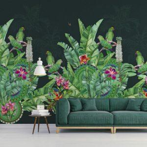 groen papegaaien behang