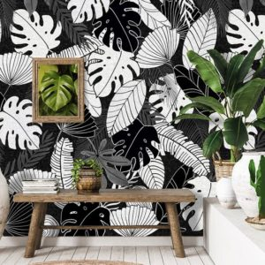 Zwart wit behang, jungle behang, bladeren behang