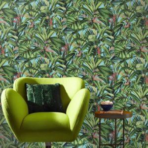 Tropische planten behang blauw