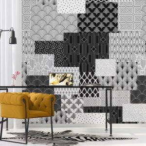Zwart & wit behang rechthoeken
