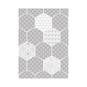hexagon behang zwart wit