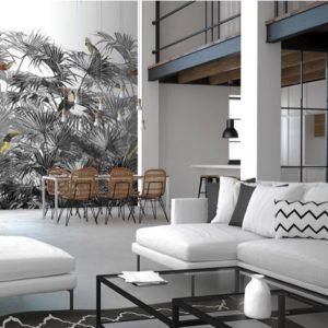 palmbladeren behang zwart & wit