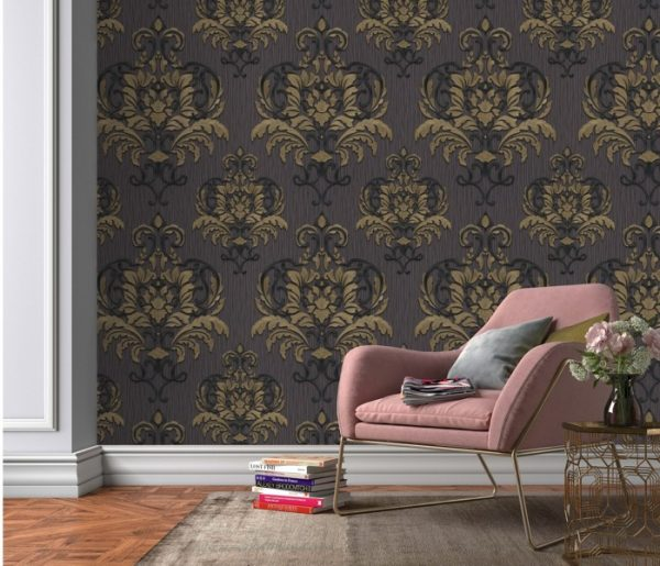 Bruin barok behang