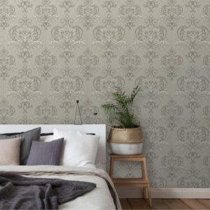 Barok behang grijs