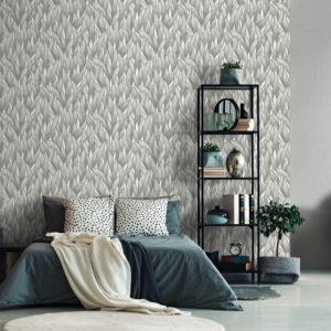 Behang bladeren grijs