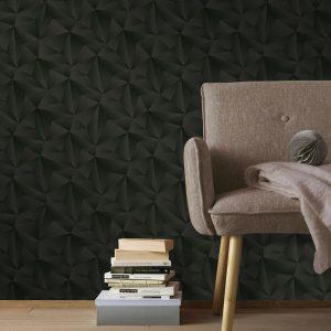 Driehoeken behang 3d zwart