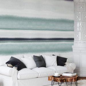 Scandinavisch behang blauwe tinten 2