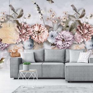 Bloemen behang licht grijs