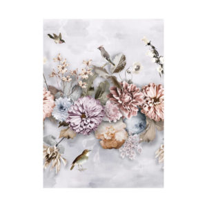 Bloemen behang lichtgrijs 2