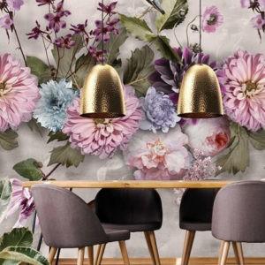 Bloemen behang roze en paars
