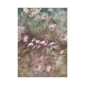 Flamingo behang met bloemen-2