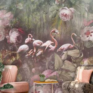 Flamingo behang met bloemen