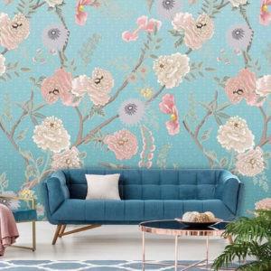 bloemenbehang blauw