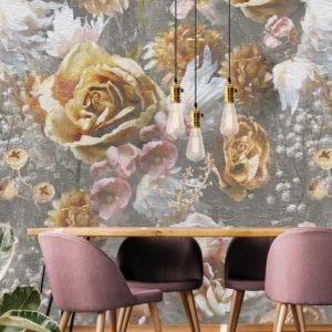 Behang bloemen goud