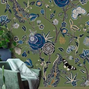 Bloemen behang groen