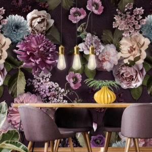 Donker bloemen behang-2