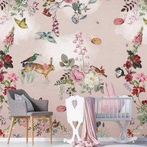 Kinderbehang dieren roze 2