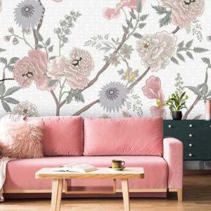 Wit bloemen behang 2