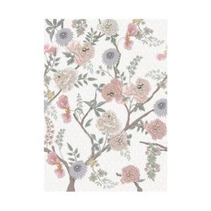 Wit bloemen behang