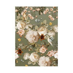 Groen bloemen behang