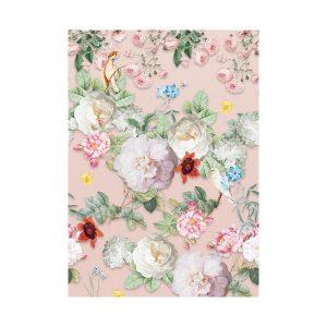 Roze bloemen behang 2
