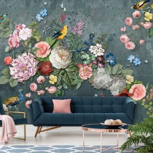 behang vogels en bloemen donker